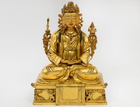 Fine Gilt Bronze Figure Of Dharma King Thrisrong Destan