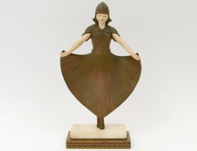Art Deco Gilt Metal And Painted Metal Dancer
