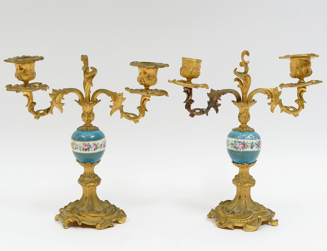 PAIR OF LOUIS XV STYLE GILT BRONZE & PORCELAIN TWO