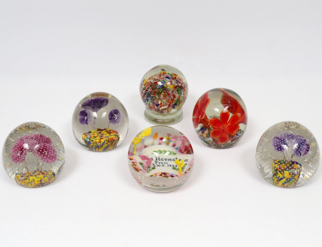 GROUP OF SIX GLASS PAPERWEIGHTS