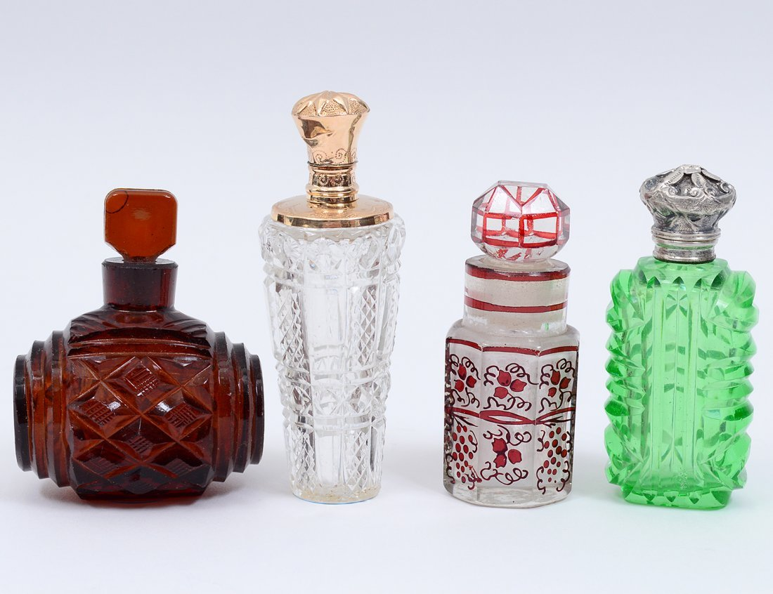 GROUP OF FOUR GLASS SCENT BOTTLES