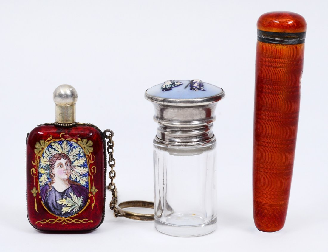 GROUP OF THREE ENAMEL PERFUME BOTTLES