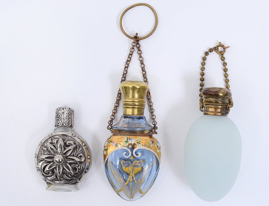 GROUP OF THREE GLASS SCENT BOTTLES