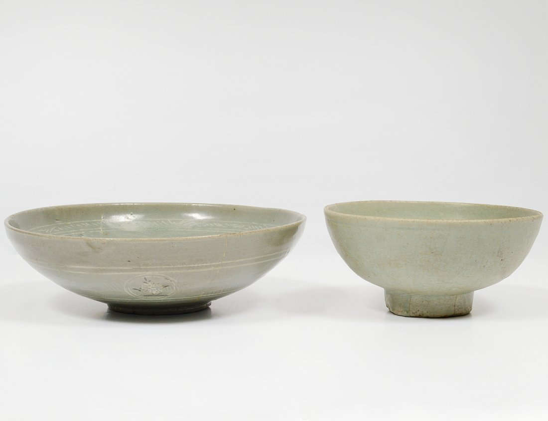 TWO CELADON GLAZED POTTERY BOWLS