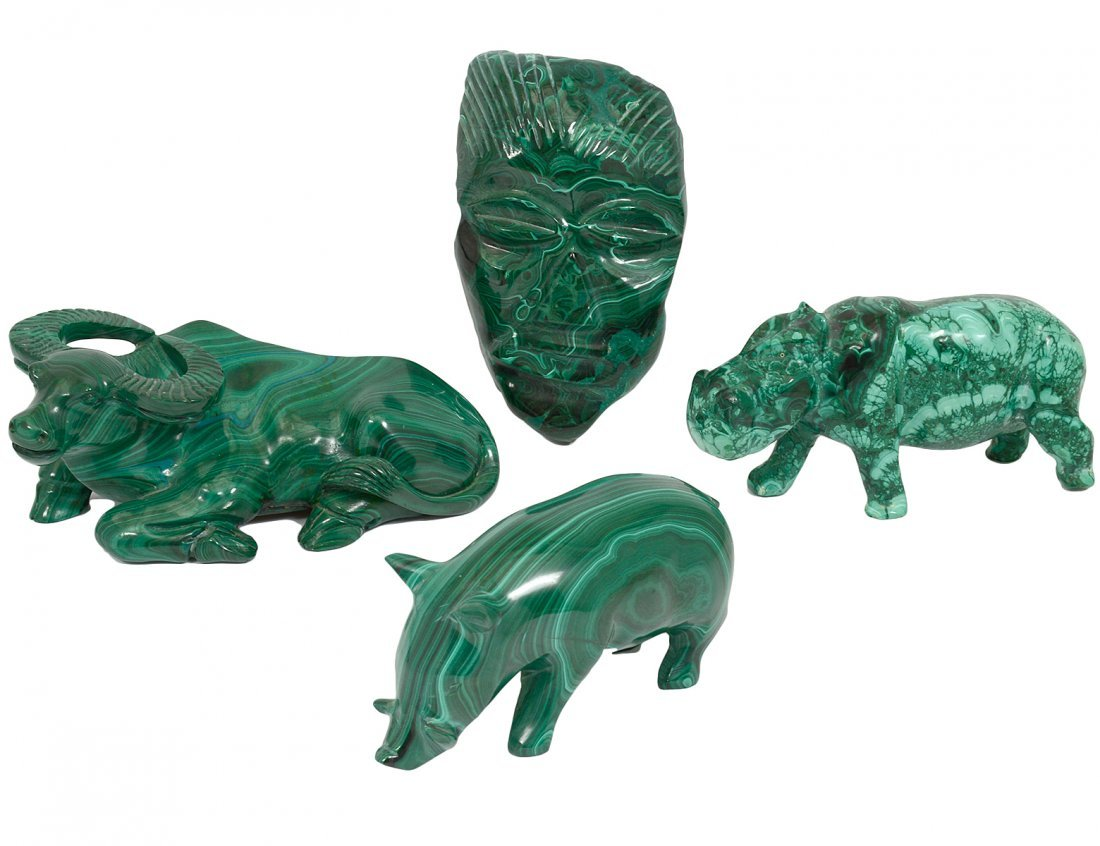 GROUP OF FOUR CARVED MALACHITE FIGURES
