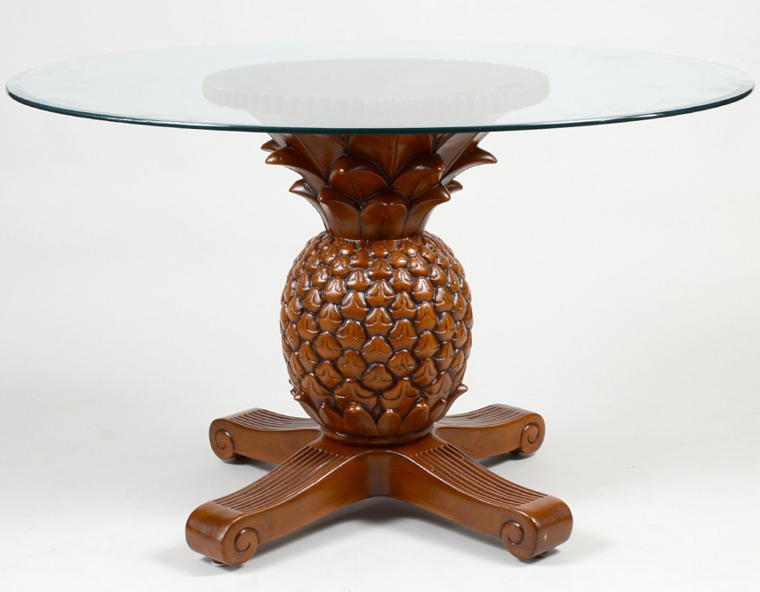 GLASS TOP PINEAPPLE BASE TABLE AND FOUR ARMCHAIRS - 6
