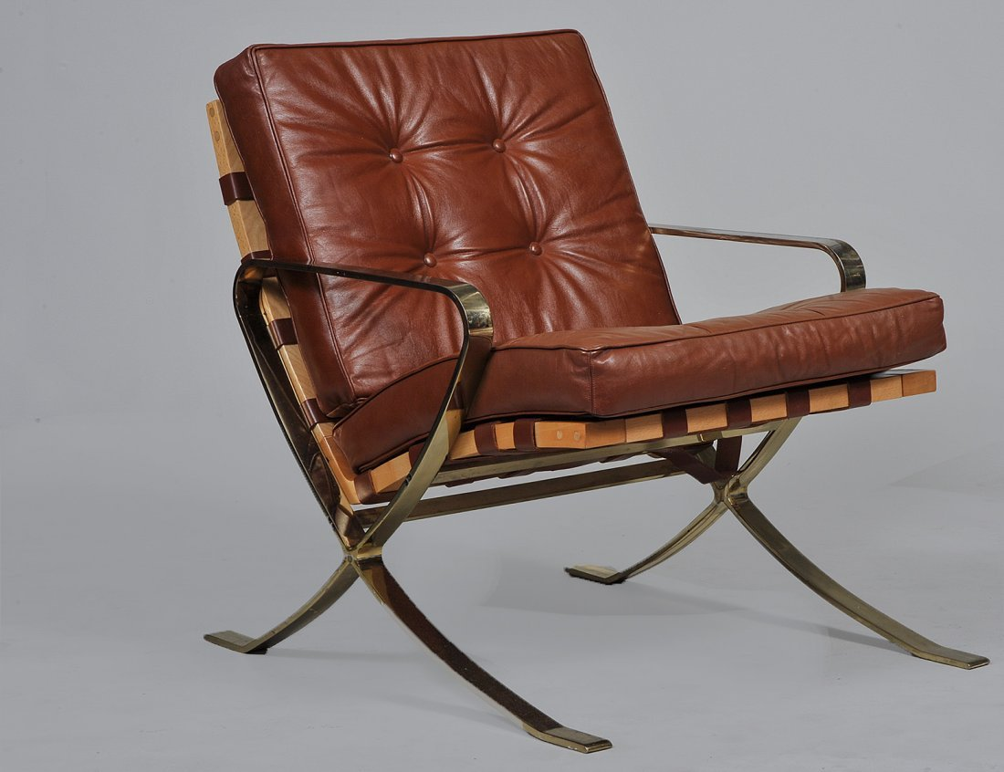 BARCELONA STYLE WOOD, METAL AND LEATHER ARMCHAIR