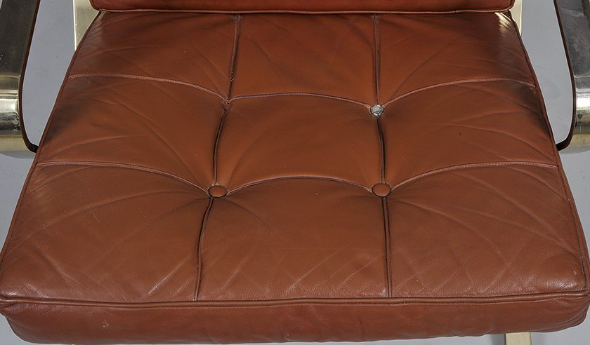 BARCELONA STYLE WOOD, METAL AND LEATHER ARMCHAIR - 2