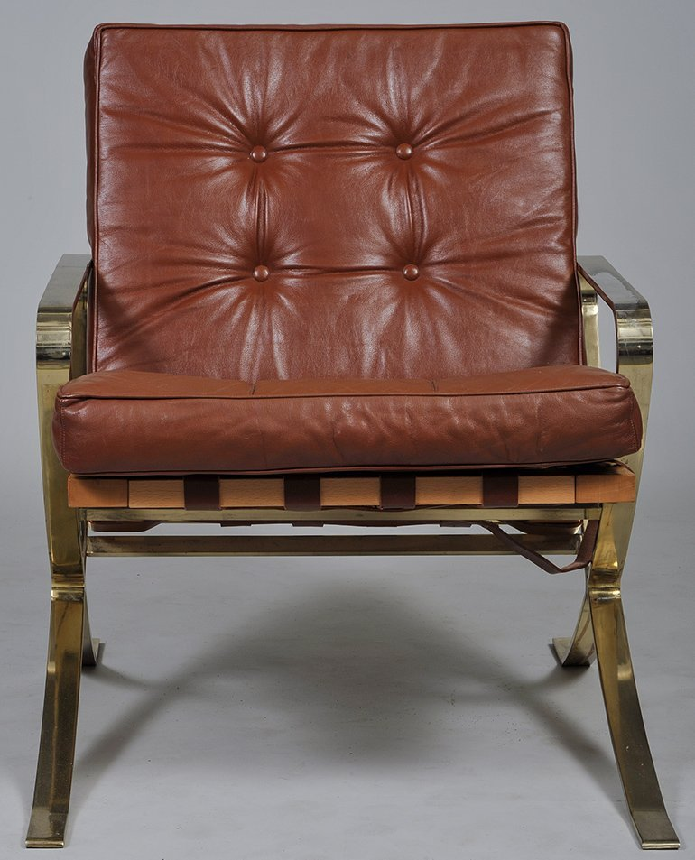 BARCELONA STYLE WOOD, METAL AND LEATHER ARMCHAIR - 3