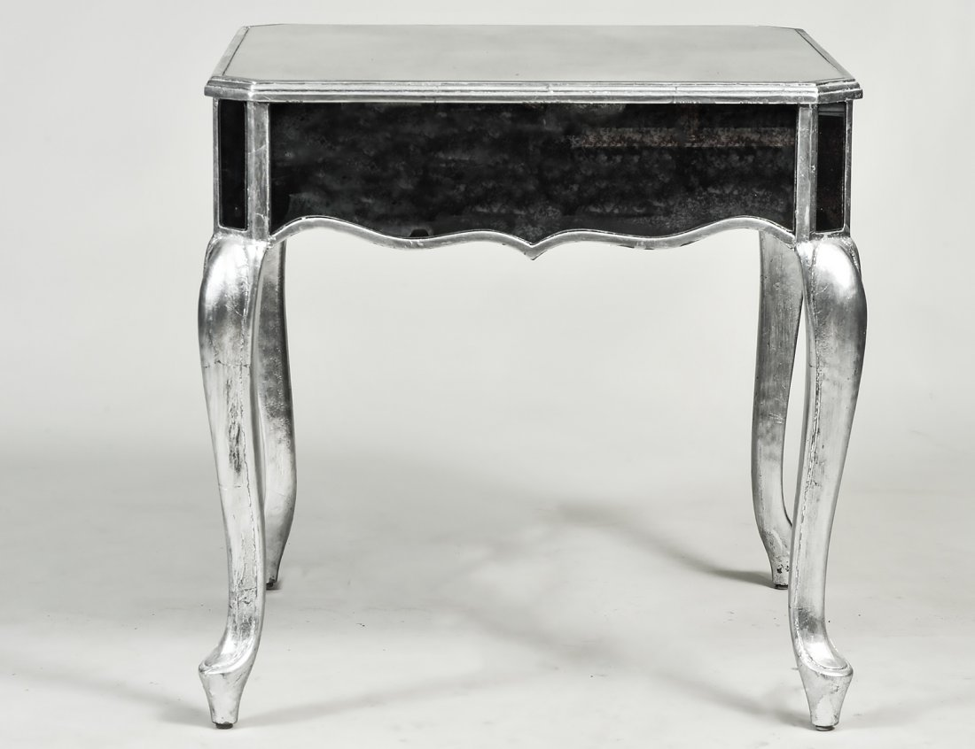 SILVER PAINTED MIRRORED SIDE TABLE