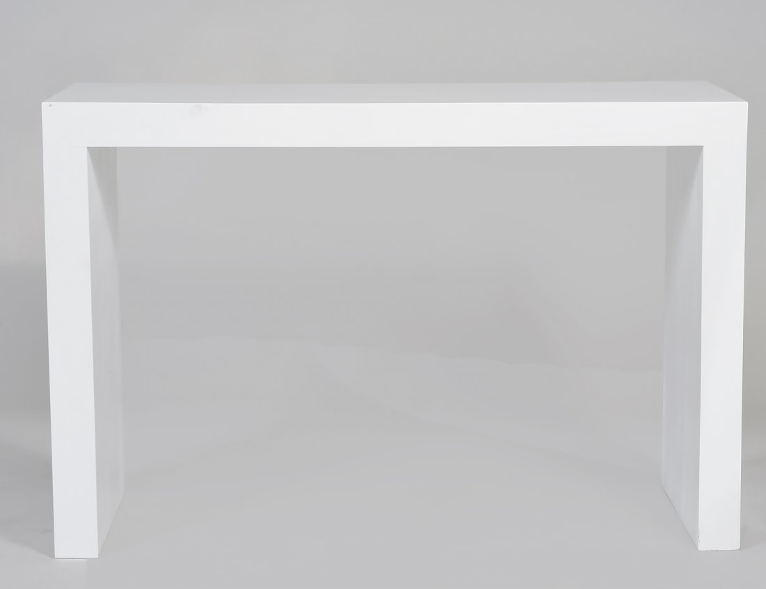 CONTEMPORARY WHITE LACQUERED PARSONS TABLE
