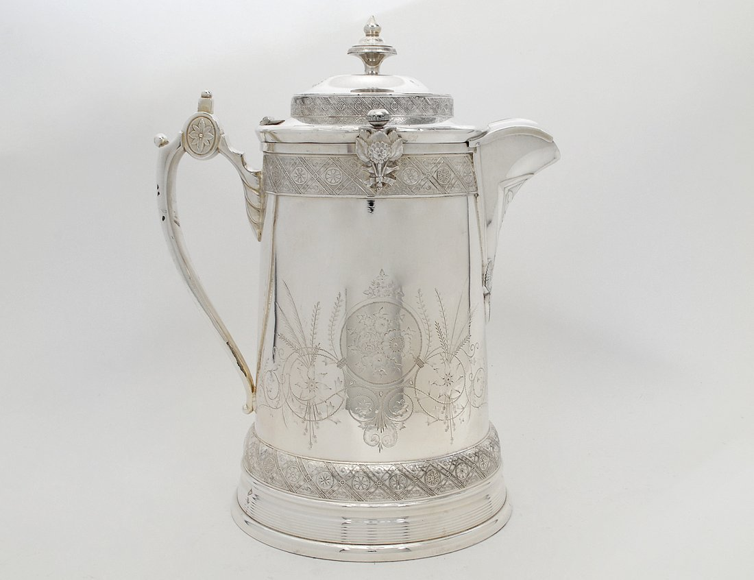RENAISSANCE REVIVAL SILVER PLATED ICE WATER PITCHER