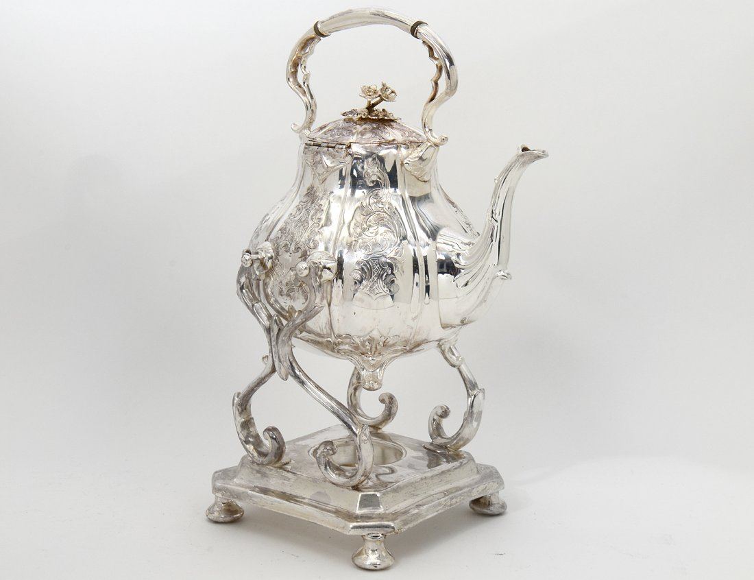 VICTORIAN SILVER PLATED TILTING HOT WATER KETTLE ON