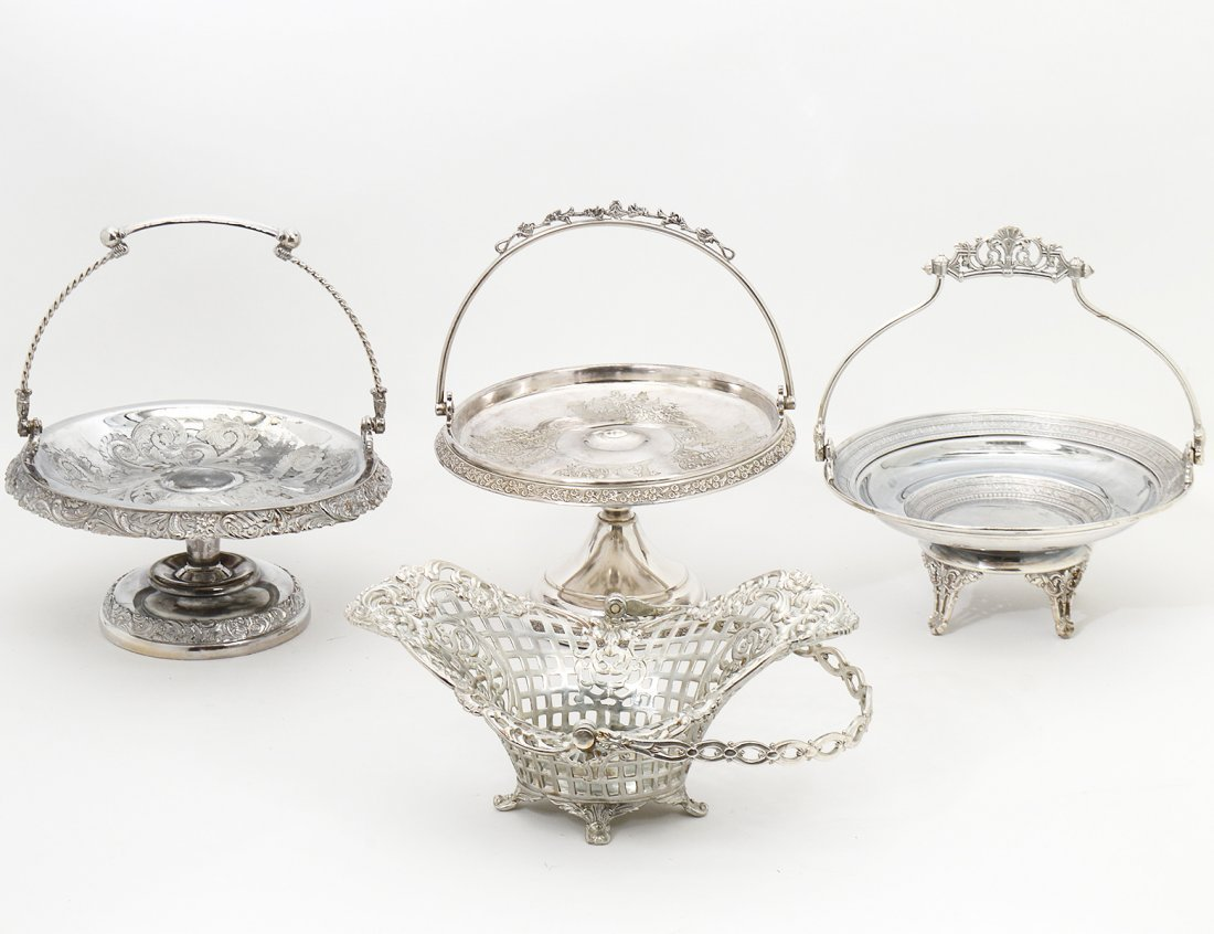 SET OF FOUR AESTHETIC MOVEMENT SILVER PLATED BASKETS