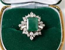 EIGHTEEN KARAT WHITE GOLD AND DIAMOND RING