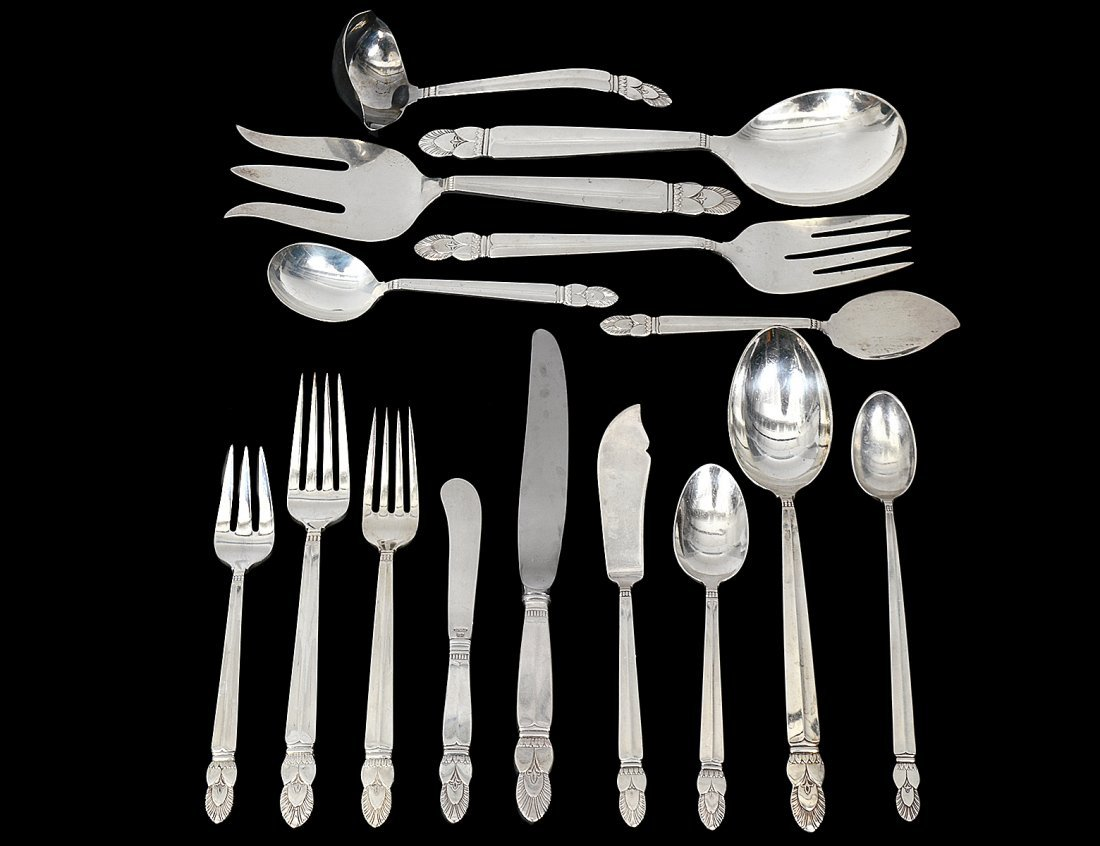 ONE HUNDRED, NINE PIECE STERLING SILVER PART FLATWARE