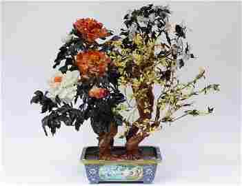 LARGE HARDSTONE TREE IN CLOISONNE ENAMEL JARDINIER