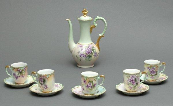 2: Eleven Piece Limoges Hand Painted Porcelain Chocolat