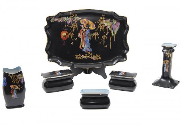 7: Rubian Art Pottery England Dresser Set