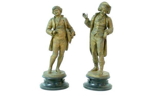8: Pair Spelter Colonial Men Figures