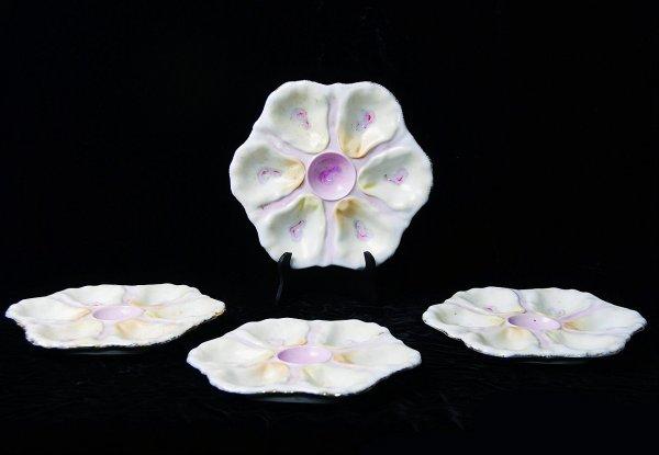 19: Four Antique Continental Porcelain Oyster Plates