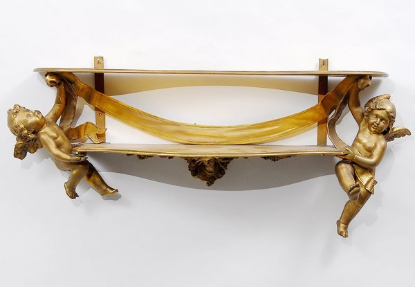 24: French Style Two Tier Shelf Gold Painted Putti