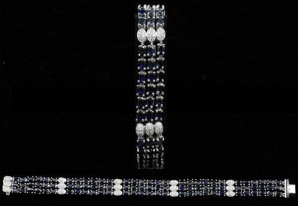 189: 14kt  White Gold Three Row Sapphire Bracelet
