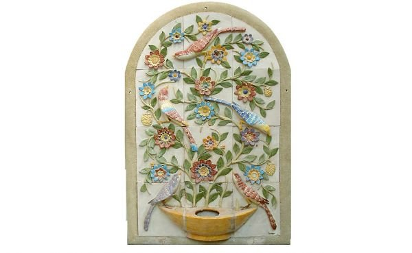 319: Portugal Wall Tile with 5 Birds in Floral Motif