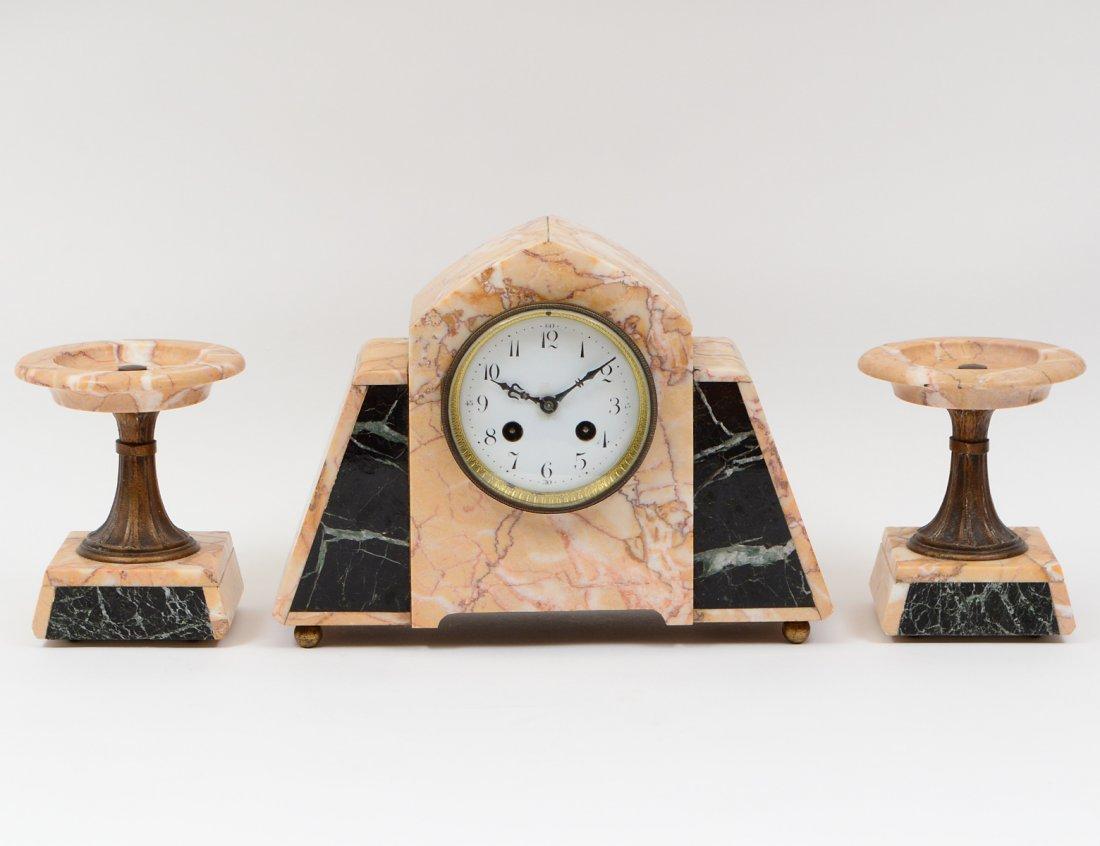 ART DECO STYLE THREE PIECE CLOCK GARNITURE