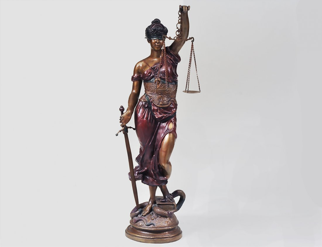 LARGE STANDING BRONZE FIGURE OF LADY JUSTICE