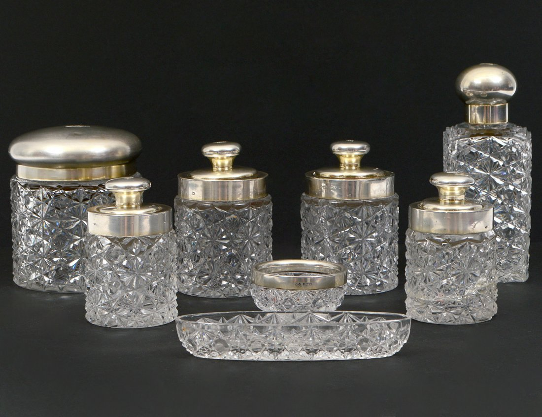 EIGHT PIECE S/S AND CUT GLASS DRESSER SET