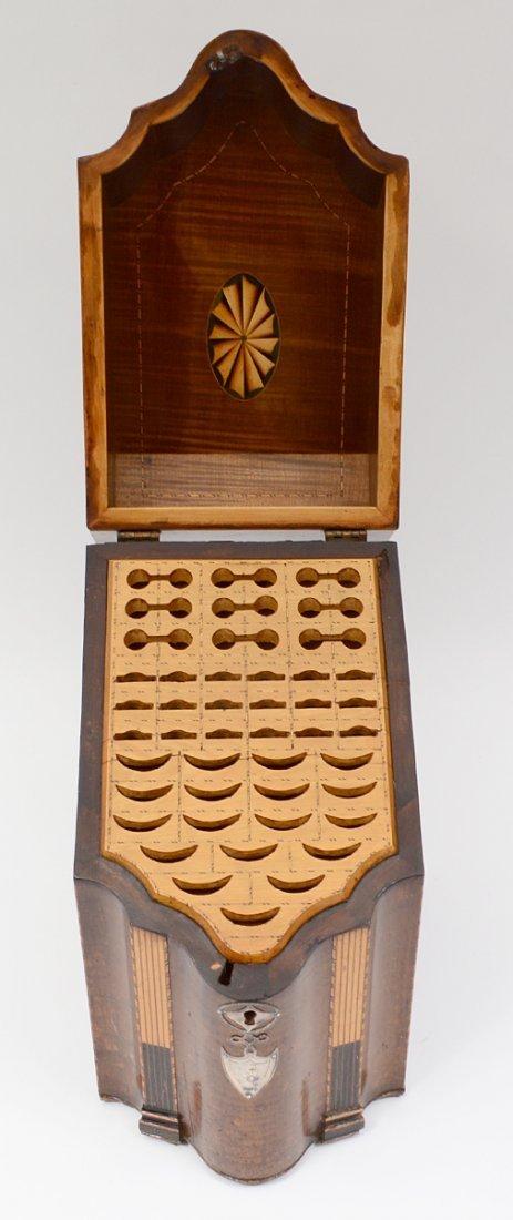 GEORGE III NAUTILUS INLAID MAHOGANY KNIFE BOX - 3