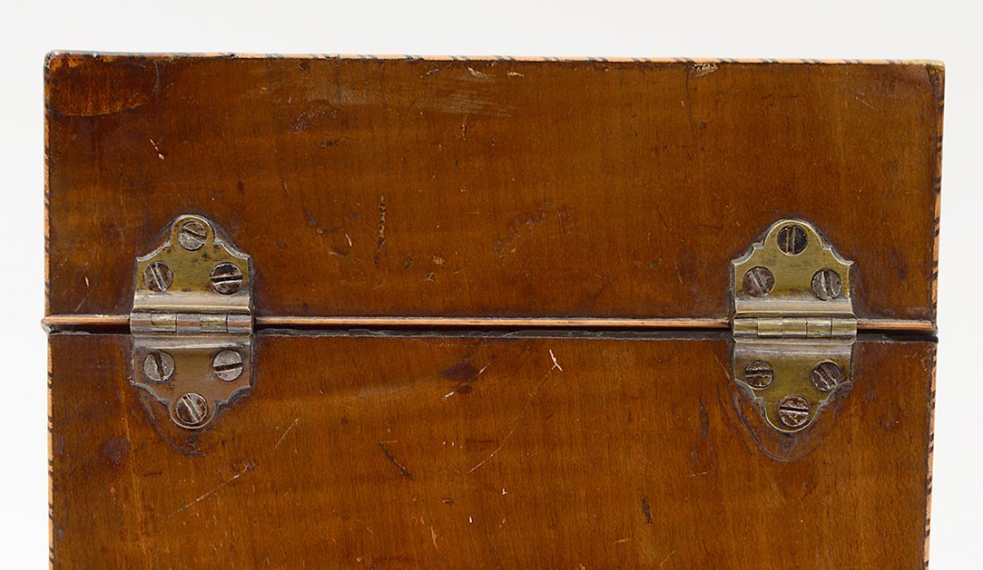 GEORGE III NAUTILUS INLAID MAHOGANY KNIFE BOX - 8