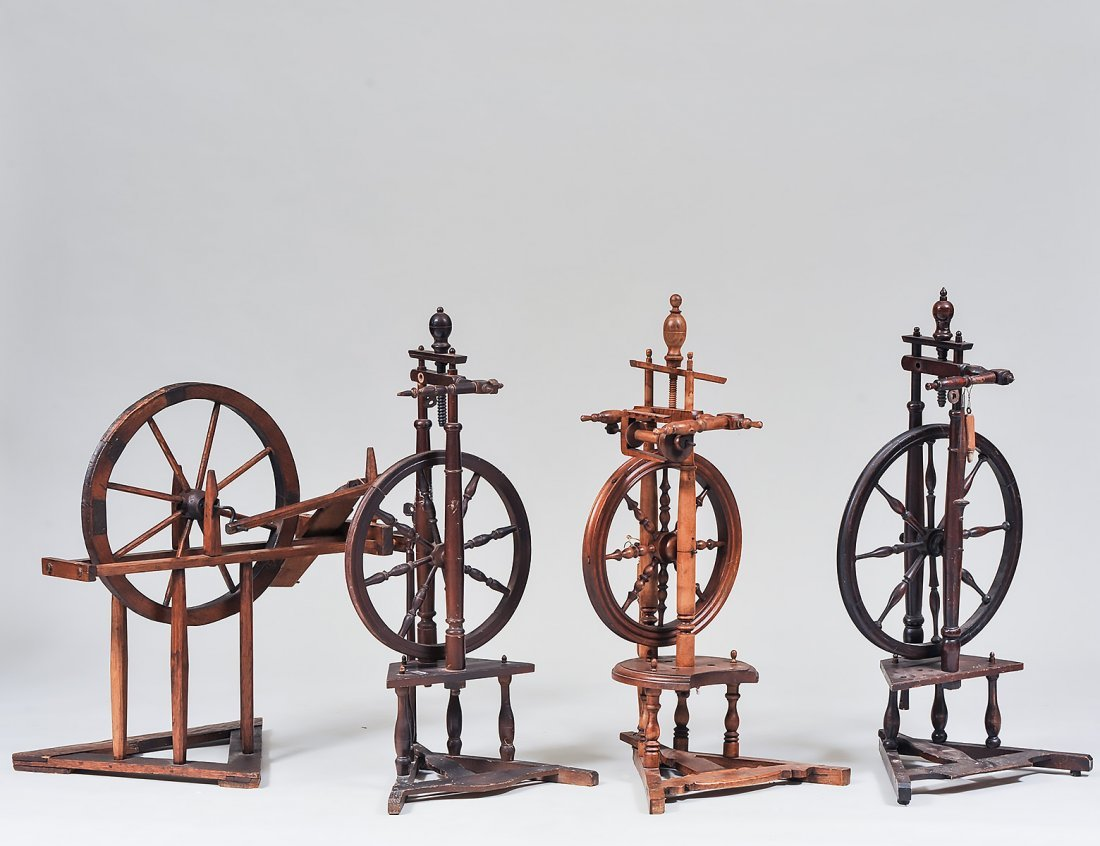 FOUR ANTIQUE PROVINCIAL SPINNING WHEELS