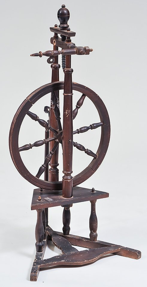 FOUR ANTIQUE PROVINCIAL SPINNING WHEELS - 4