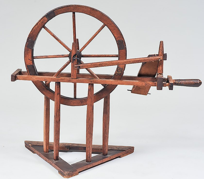 FOUR ANTIQUE PROVINCIAL SPINNING WHEELS - 5