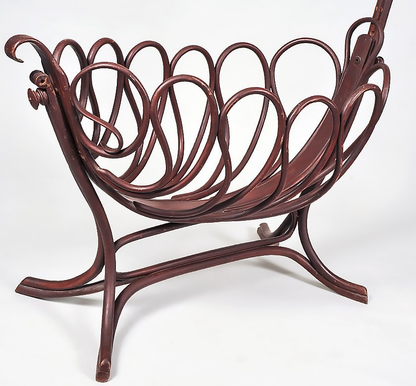 TURNED AND PAINTED BEECHWOOD CRADLE - 3