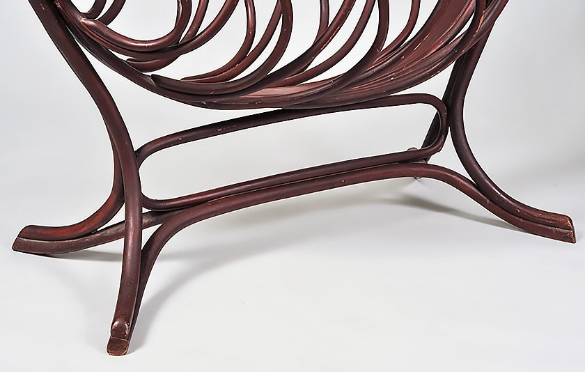 TURNED AND PAINTED BEECHWOOD CRADLE - 4