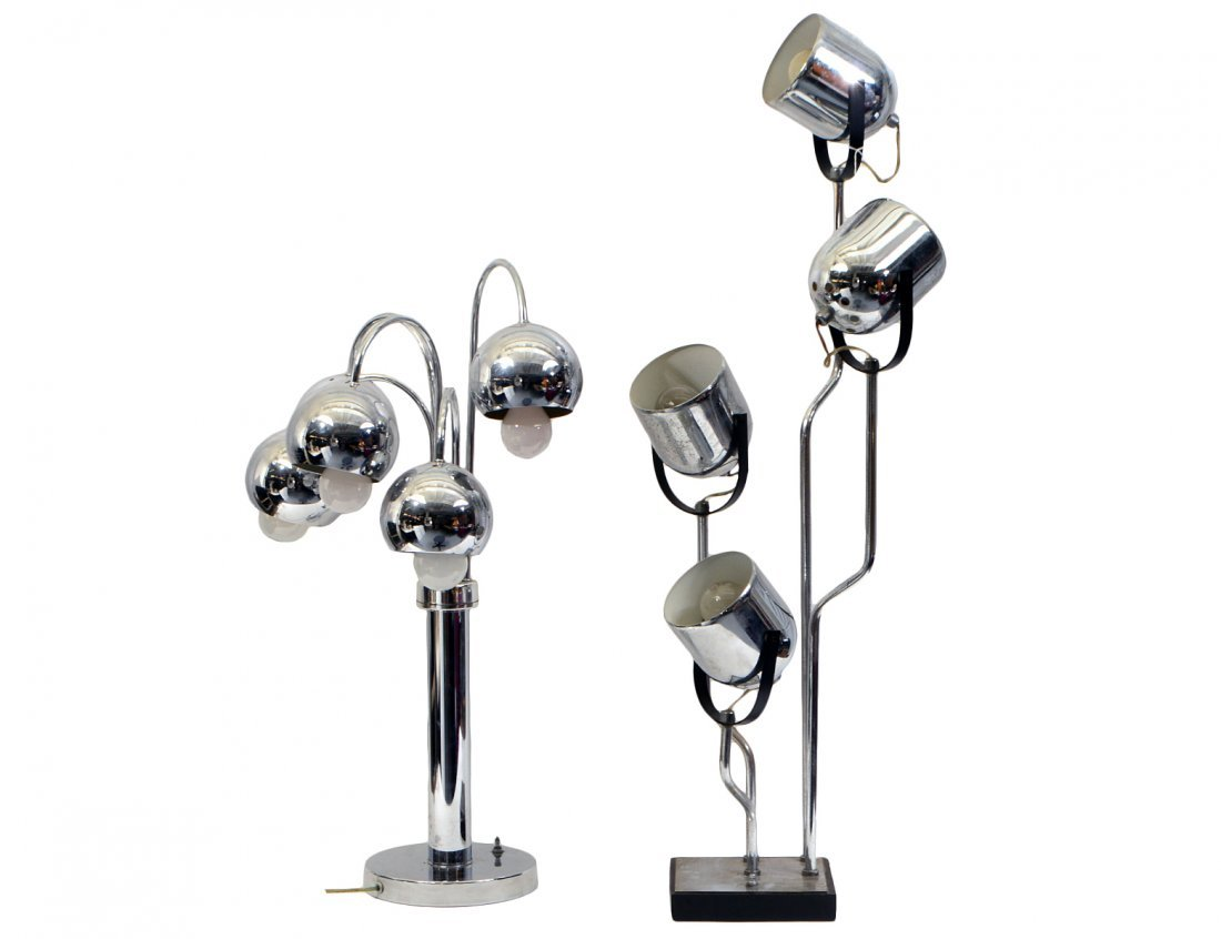 TWO MID-CENTURY MODERN CHROMED TABLE LAMPS