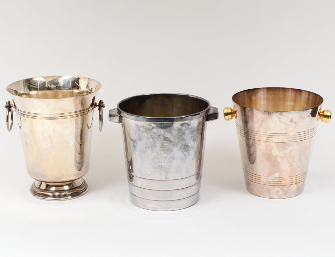 GROUP OF THREE SILVER PLATED ICE BUCKETS
