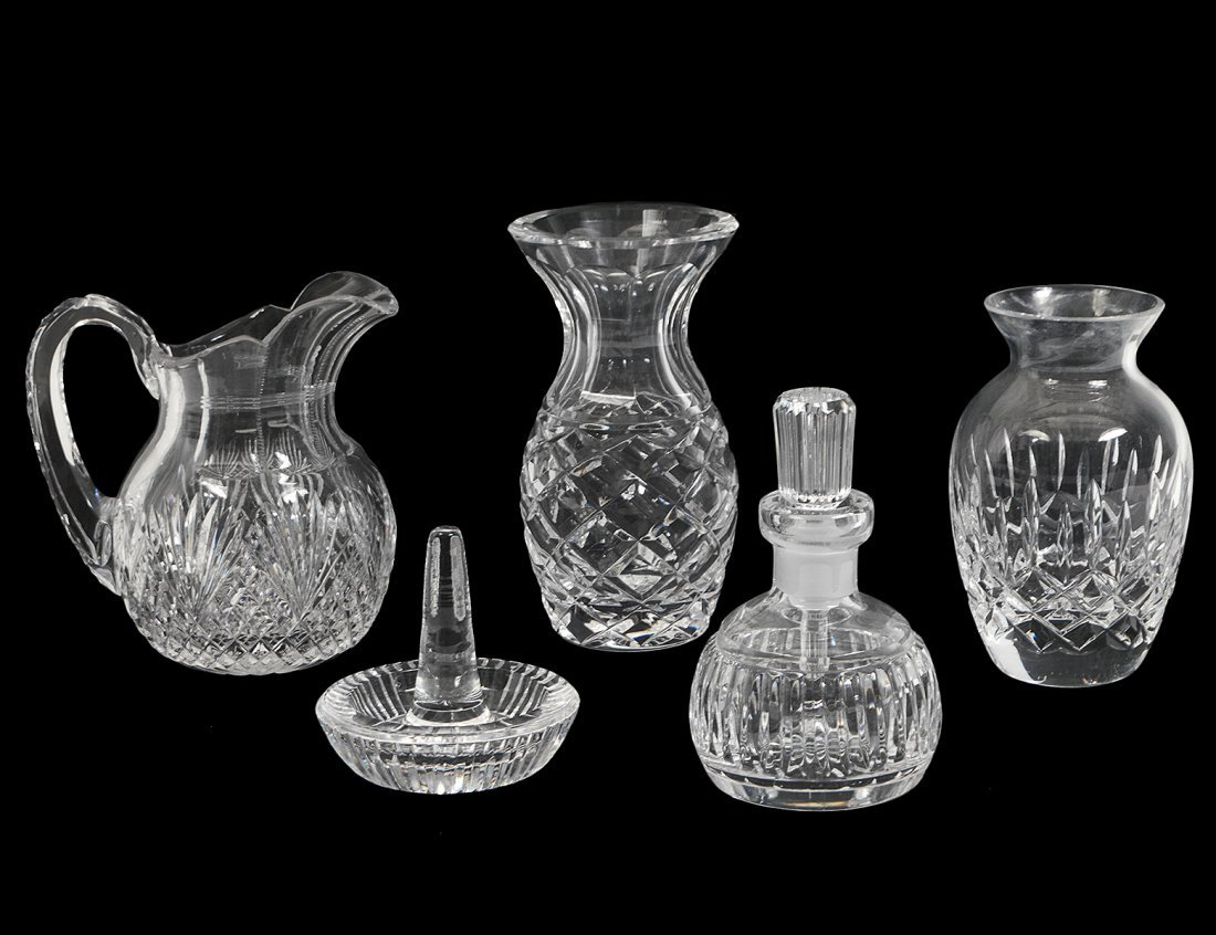 GROUP OF FIVE WATERFORD CRYSTAL OBJECTS