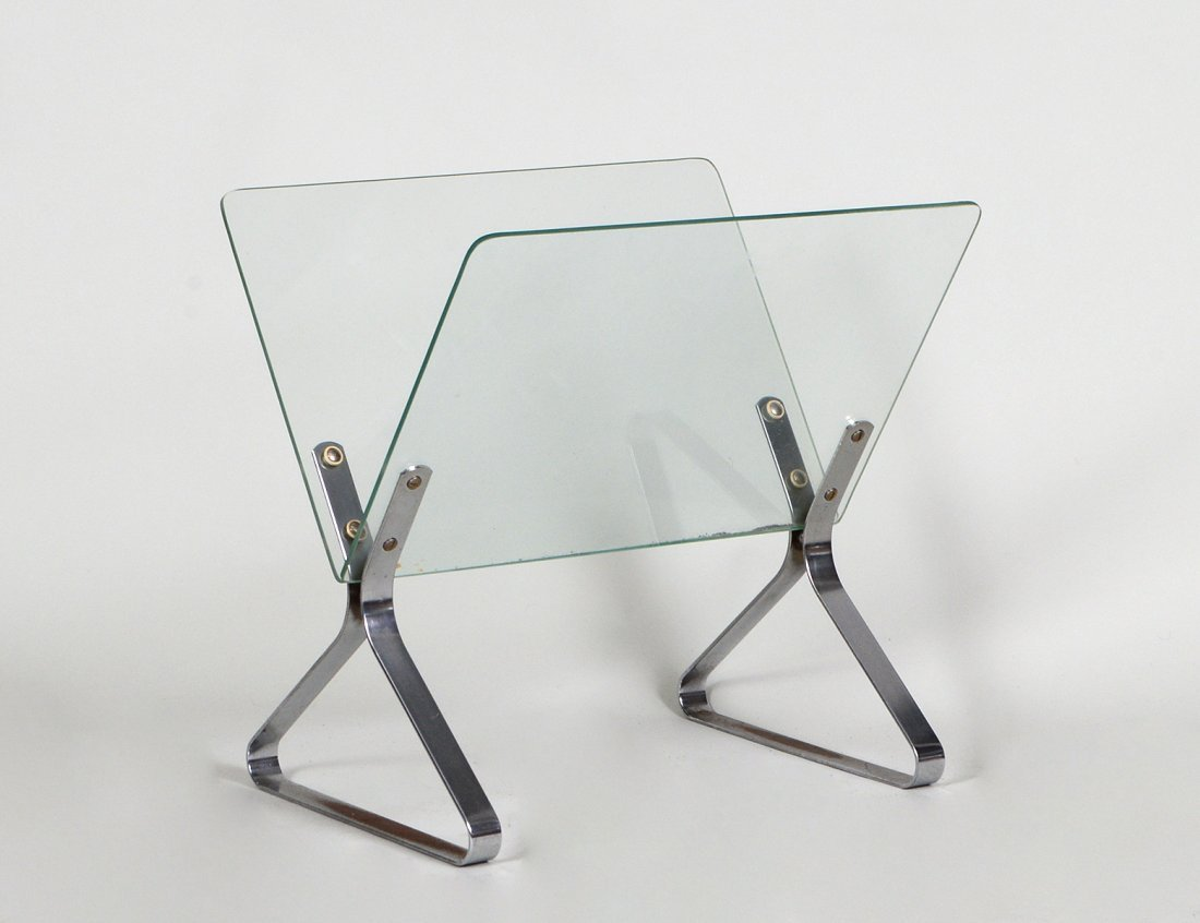 MODERN CHROME AND GLASS MAGAZINE STAND