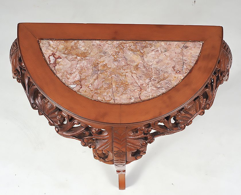 MARBLE INSET WOOD DEMILUNE TABLE - 5