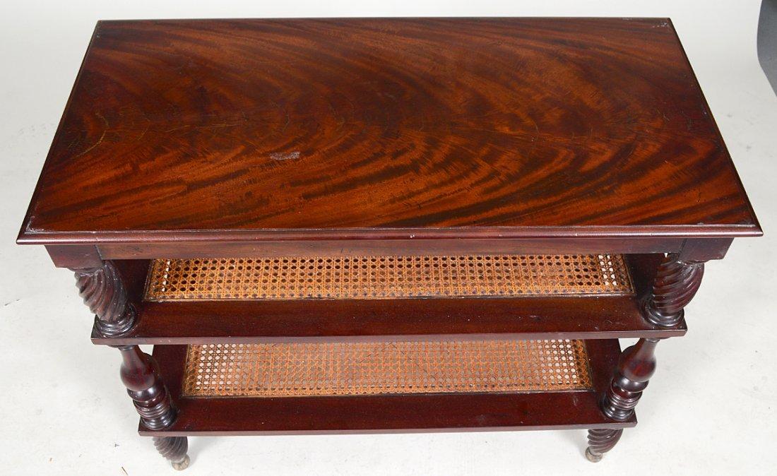 PAIR MAHOGANY THREE TIER SIDE TABLES - 2