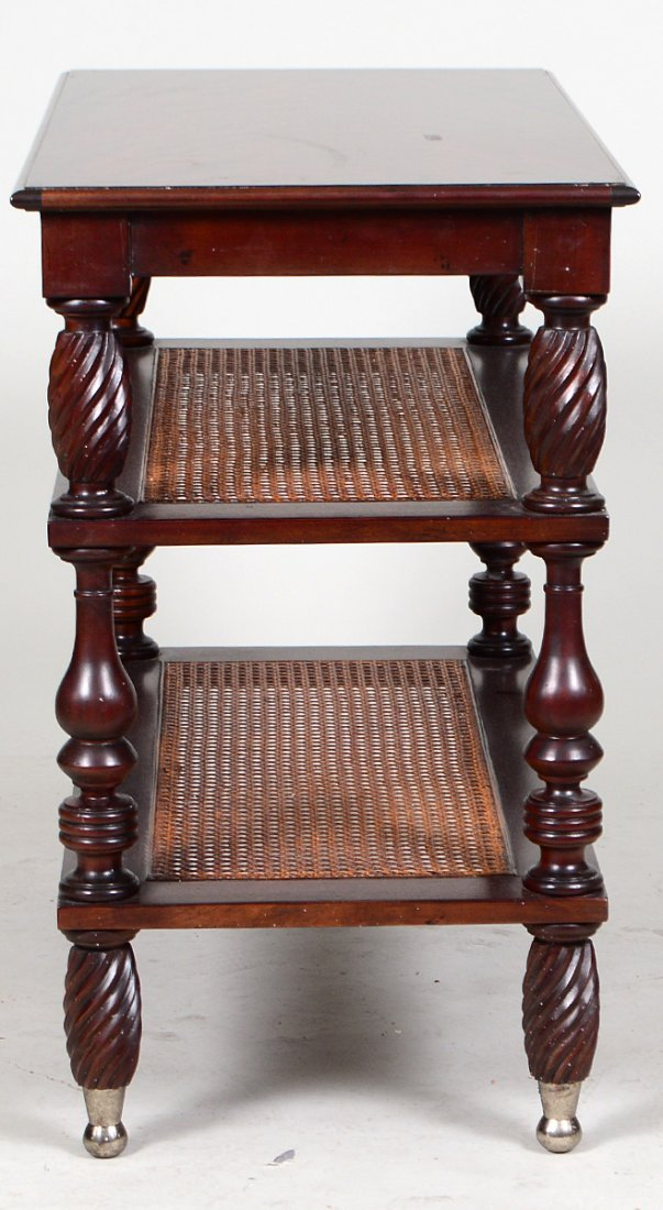 PAIR MAHOGANY THREE TIER SIDE TABLES - 4