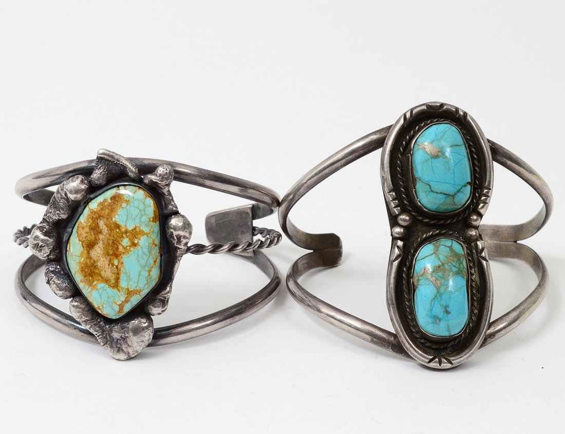 TWO NATIVE AMERICAN STERLING SILVER CUFF BRACELETS