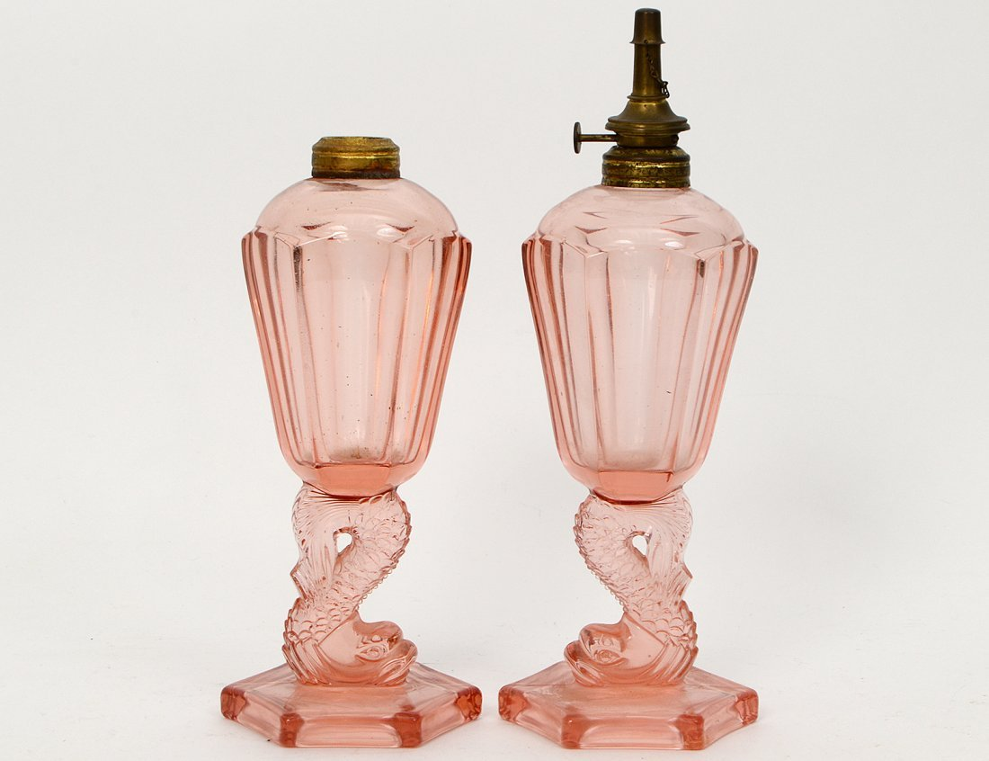 PAIR OF PINK GLASS PRESSED OIL LAMPS