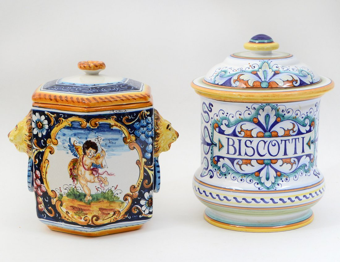 TWO ITALIAN MAJOLICA LIDDED BISCUIT CANISTERS
