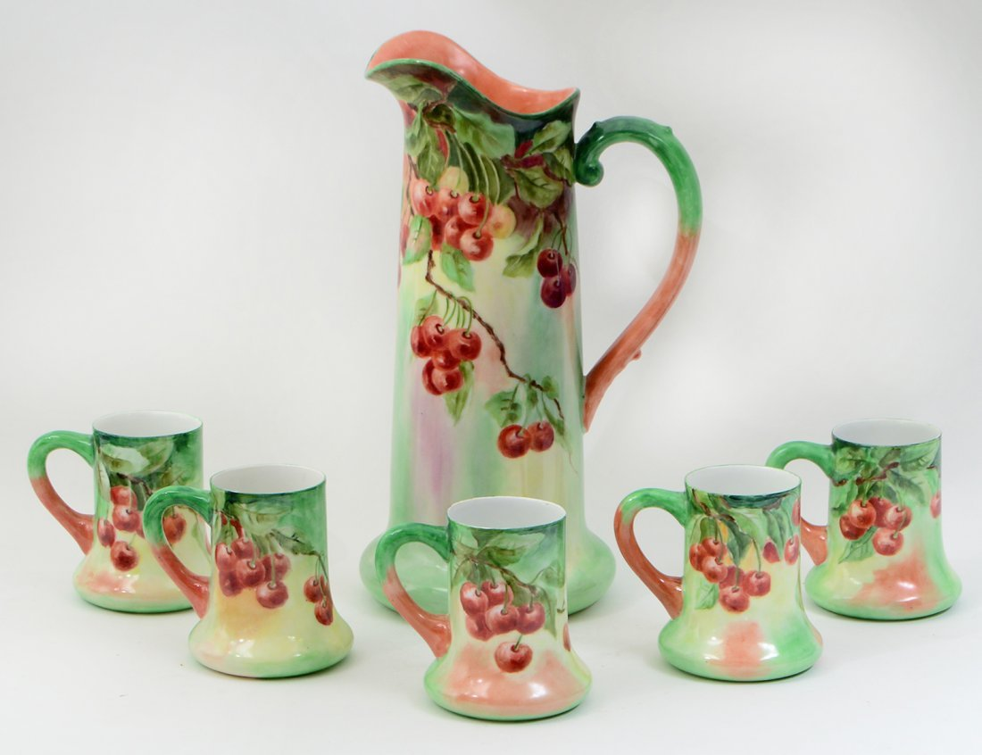 FIVE LIMOGES PAINTED PORCELAIN CIDER MUGS & LARGE