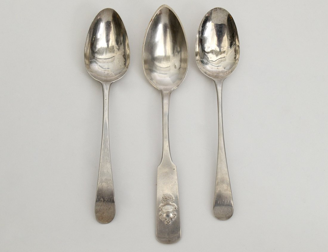 THREE GEORGE III SILVER SERVING SPOONS